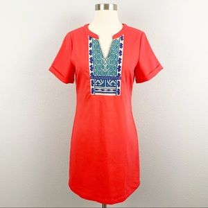 Under Skies red embroidered sheath dress